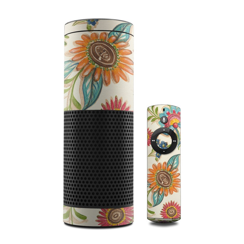Amazon Echo 1st Gen Skin design of Pattern, Floral design, Flower, Botany, Design, Visual arts, Textile, Plant, Wildflower, Pedicel with gray, green, pink, yellow, red, blue colors