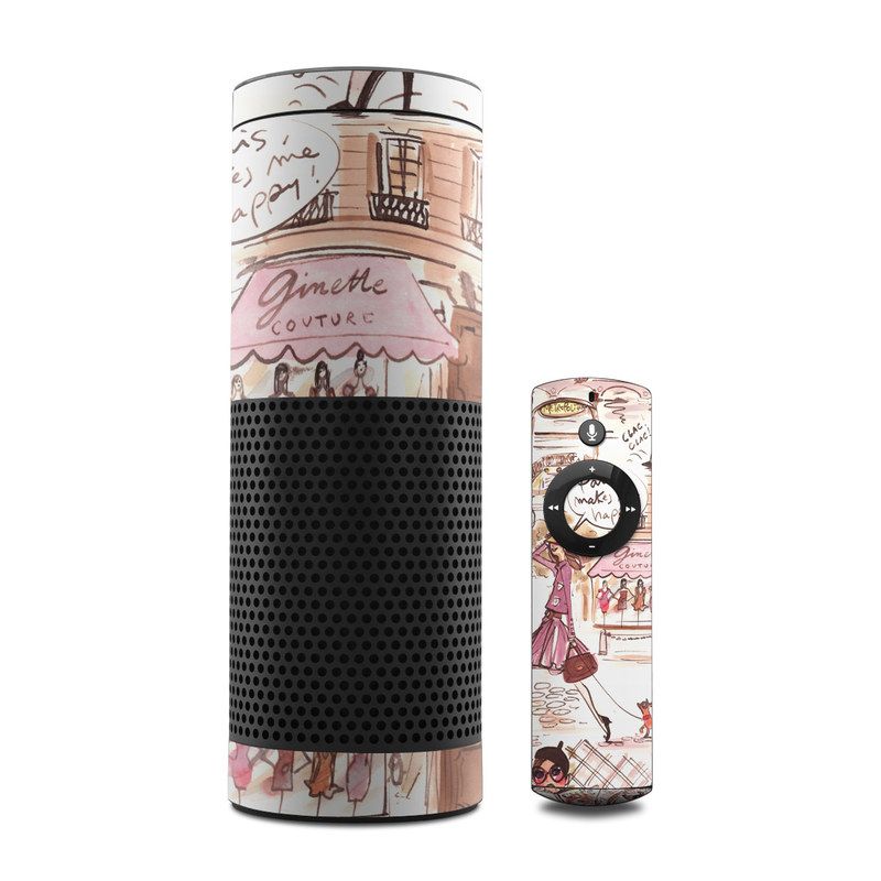 Amazon Echo 1st Gen Skin design of Cartoon, Illustration, Comic book, Fiction, Comics, Art, Human, Organism, Fictional character, Style with gray, white, pink, red, yellow, green colors