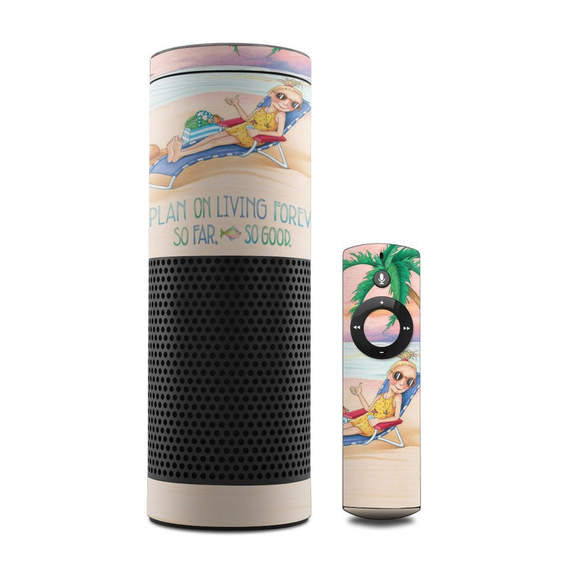 Amazon Echo 1st Gen Skin design of Vacation, Product, Summer, Aqua, Illustration, Sun tanning, Fictional character, Caribbean, Graphics, Happy with pink, green, brown, yellow, blue, white, red colors
