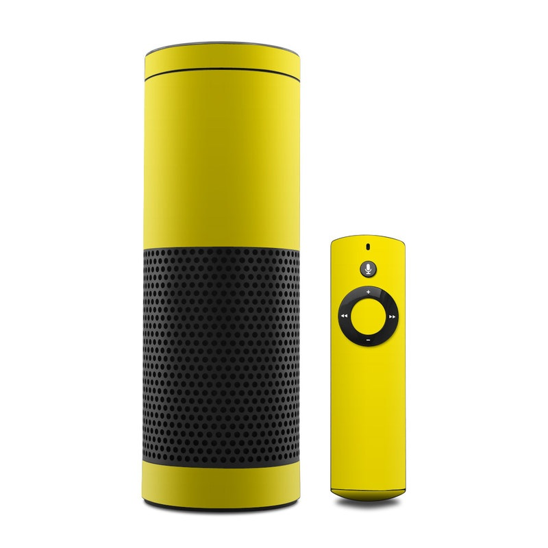 Amazon Echo 1st Gen Skin design of Green, Yellow, Orange, Text, Font with yellow colors