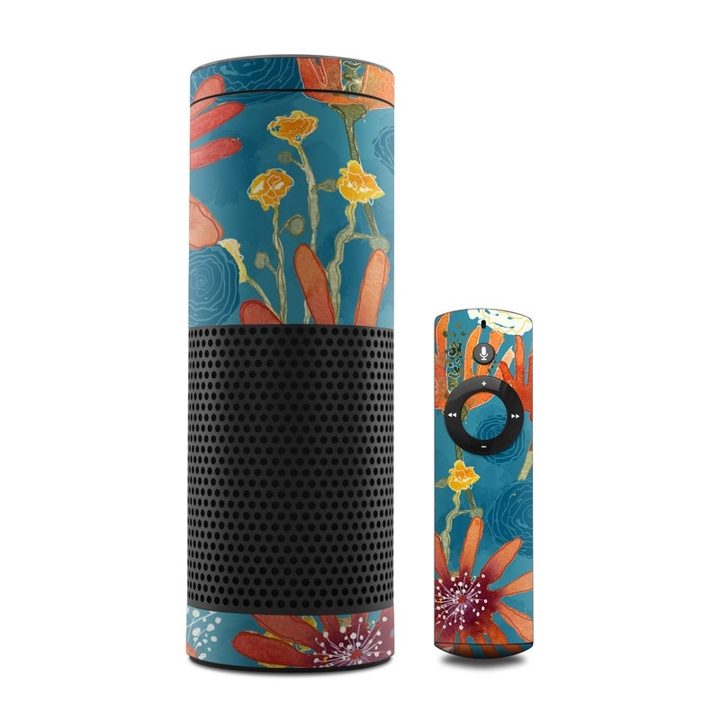 Amazon Echo 1st Gen Skin design of Pattern, Visual arts, Wrapping paper, Design, Wildflower, Floral design, Textile, Flower, Plant, Motif with blue, red, gray, yellow, green colors