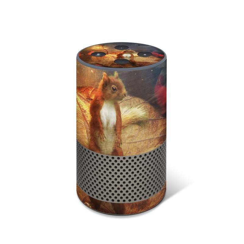 Amazon Echo 2nd Gen Skin design of Red, Leaf, Sky, Tree, Still life photography, Illustration, Night, Still life, Art, Fawn with red, brown, blue, orange, yellow colors