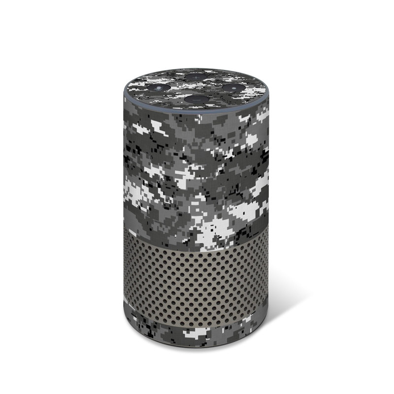 Amazon Echo 2nd Gen Skin design of Military camouflage, Pattern, Camouflage, Design, Uniform, Metal, Black-and-white with black, gray colors