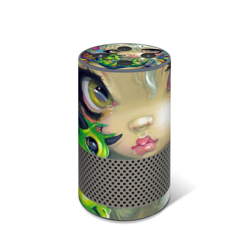 Amazon Echo 2nd Gen Skin design of Illustration, Art, Fictional character, Painting, Visual arts, Fawn, Ear, Drawing with gray, black, green, blue, red colors