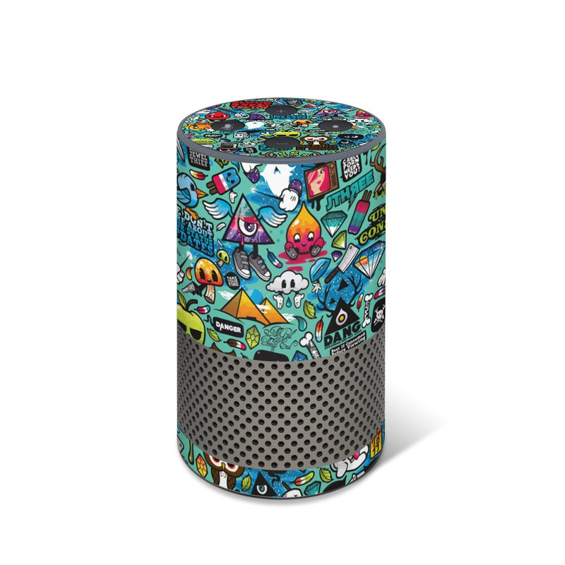 Amazon Echo 2nd Gen Skin design of Cartoon, Art, Pattern, Design, Illustration, Visual arts, Doodle, Psychedelic art with black, blue, gray, red, green colors