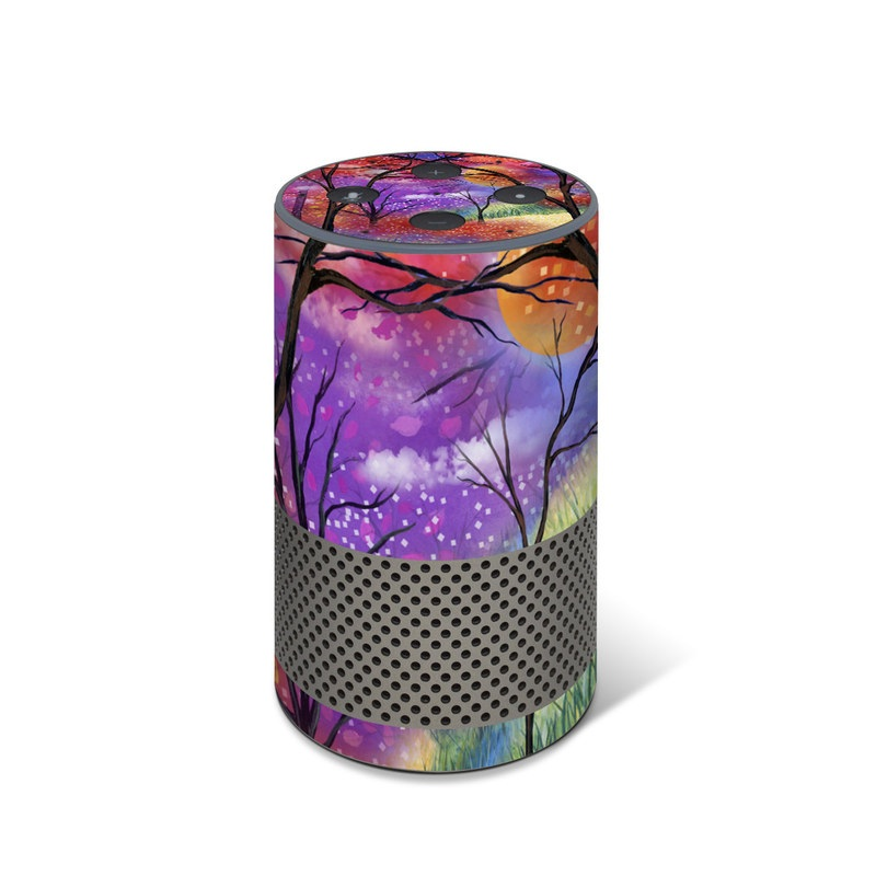 Amazon Echo 2nd Gen Skin design of Nature, Tree, Natural landscape, Painting, Watercolor paint, Branch, Acrylic paint, Purple, Modern art, Leaf with red, purple, black, gray, green, blue colors