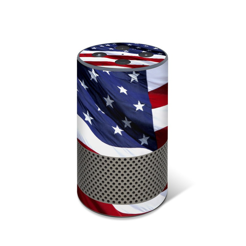 Amazon Echo 2nd Gen Skin design of Flag, Flag of the united states, Flag Day (USA), Veterans day, Memorial day, Holiday, Independence day, Event with red, blue, white colors