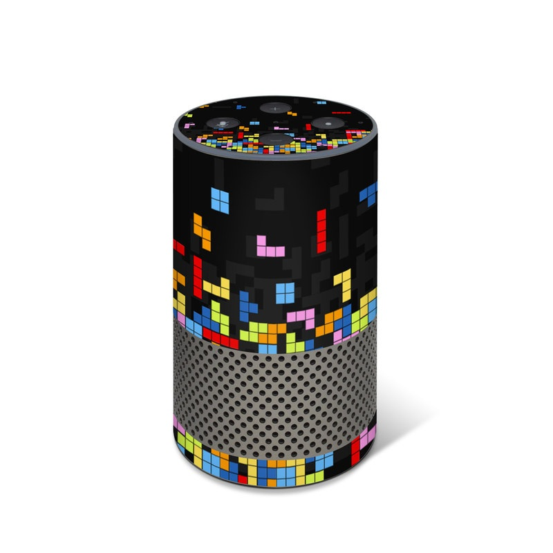 Amazon Echo 2nd Gen Skin design of Pattern, Symmetry, Font, Design, Graphic design, Line, Colorfulness, Magenta, Square, Graphics with black, green, blue, orange, red colors