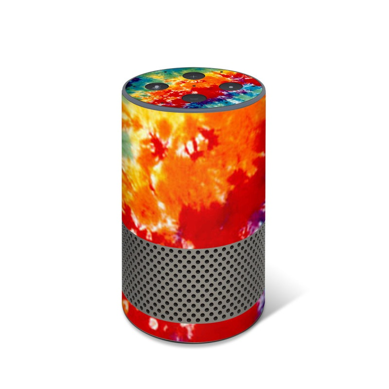 Amazon Echo 2nd Gen Skin design of Orange, Watercolor paint, Sky, Dye, Acrylic paint, Colorfulness, Geological phenomenon, Art, Painting, Organism with red, orange, blue, green, yellow, purple colors