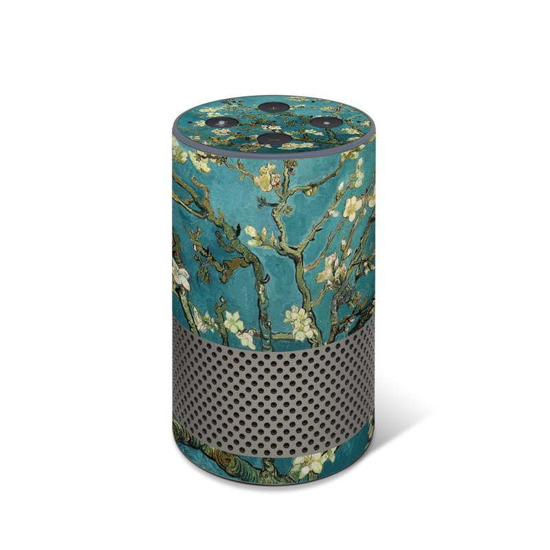 Amazon Echo 2nd Gen Skin design of Tree, Branch, Plant, Flower, Blossom, Spring, Woody plant, Perennial plant with blue, black, gray, green colors