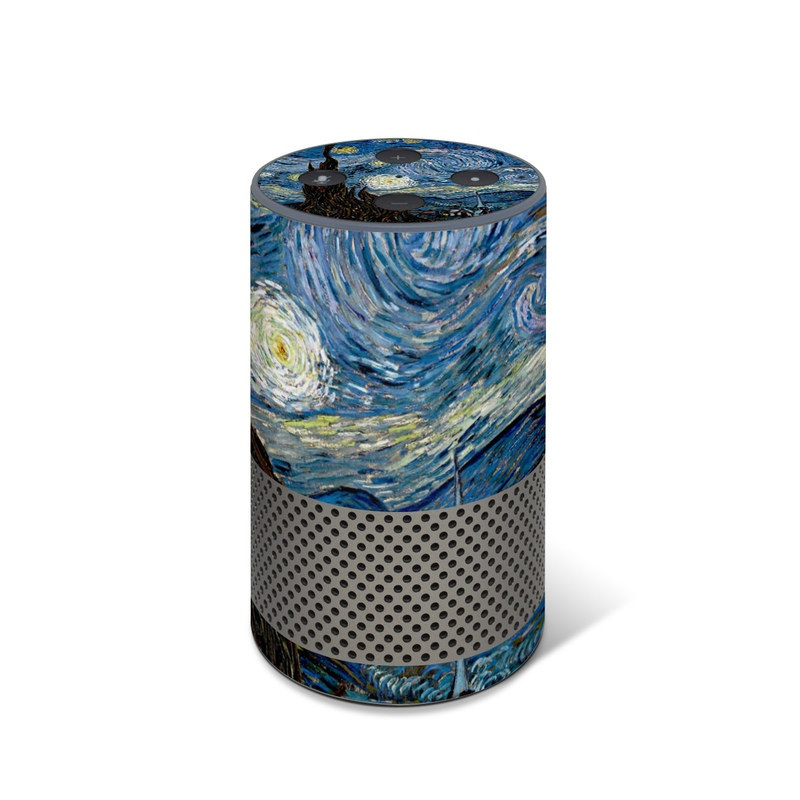 Amazon Echo 2nd Gen Skin design of Painting, Purple, Art, Tree, Illustration, Organism, Watercolor paint, Space, Modern art, Plant with gray, black, blue, green colors