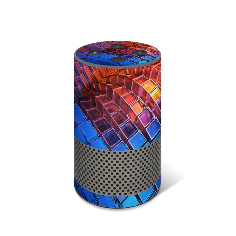 Amazon Echo 2nd Gen Skin design of Blue, Red, Orange, Light, Pattern, Architecture, Design, Fractal art, Colorfulness, Psychedelic art with black, red, blue, purple, gray colors