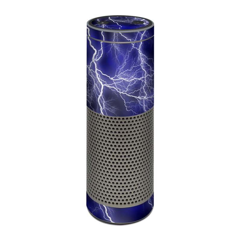 Amazon Echo Plus 1st Gen Skin design of Thunder, Lightning, Thunderstorm, Sky, Nature, Electric blue, Atmosphere, Daytime, Blue, Atmospheric phenomenon with blue, black, white colors