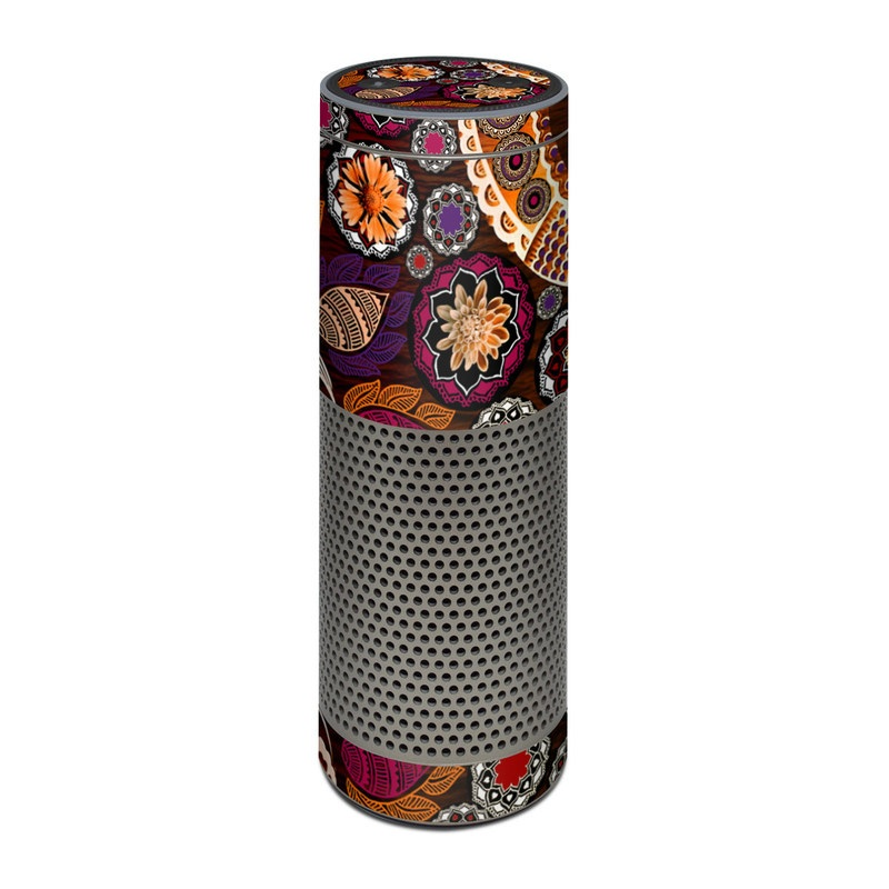 Amazon Echo Plus 1st Gen Skin design of Pattern, Motif, Visual arts, Design, Art, Floral design, Textile, Paisley, Tapestry, Circle with brown, purple, red, white, black colors