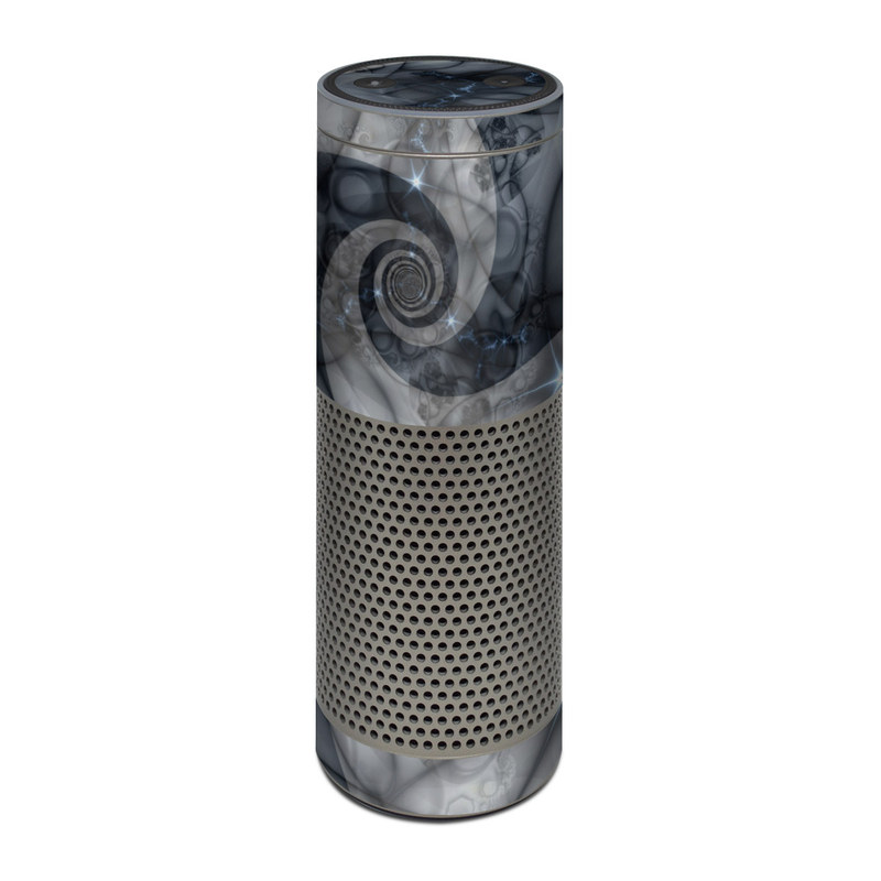 Amazon Echo Plus 1st Gen Skin design of Eye, Drawing, Black-and-white, Design, Pattern, Art, Tattoo, Illustration, Fractal art with black, gray colors