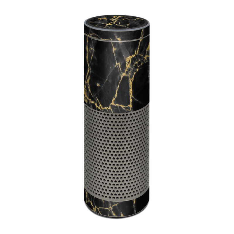 Amazon Echo Plus 1st Gen Skin design of Black, Yellow, Water, Brown, Branch, Leaf, Rock, Tree, Marble, Sky with black, yellow colors