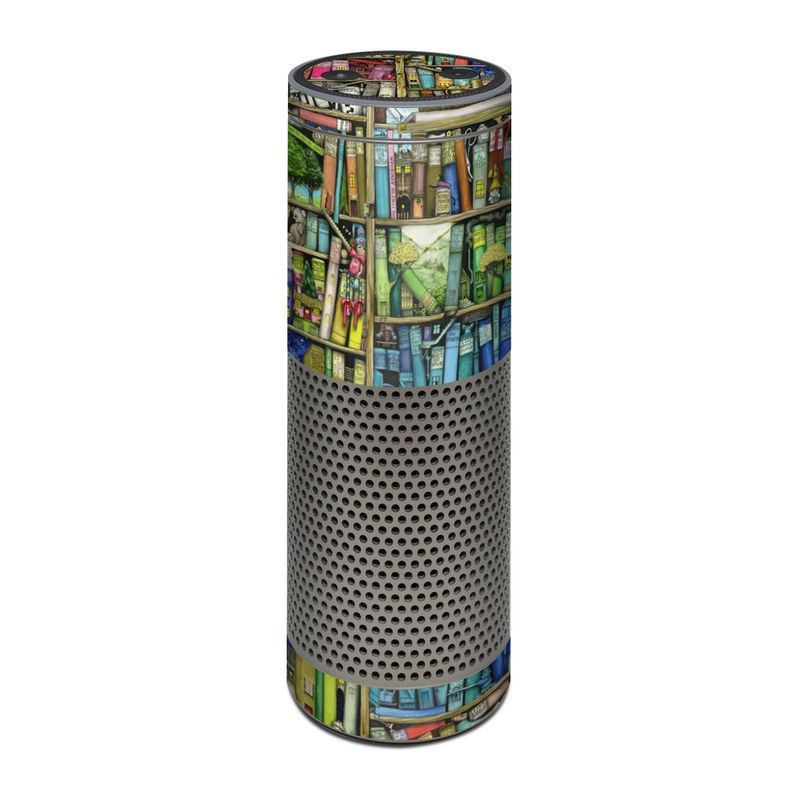Amazon Echo Plus 1st Gen Skin design of Collection, Art, Visual arts, Bookselling, Shelving, Painting, Building, Shelf, Publication, Modern art with brown, green, blue, red, pink colors