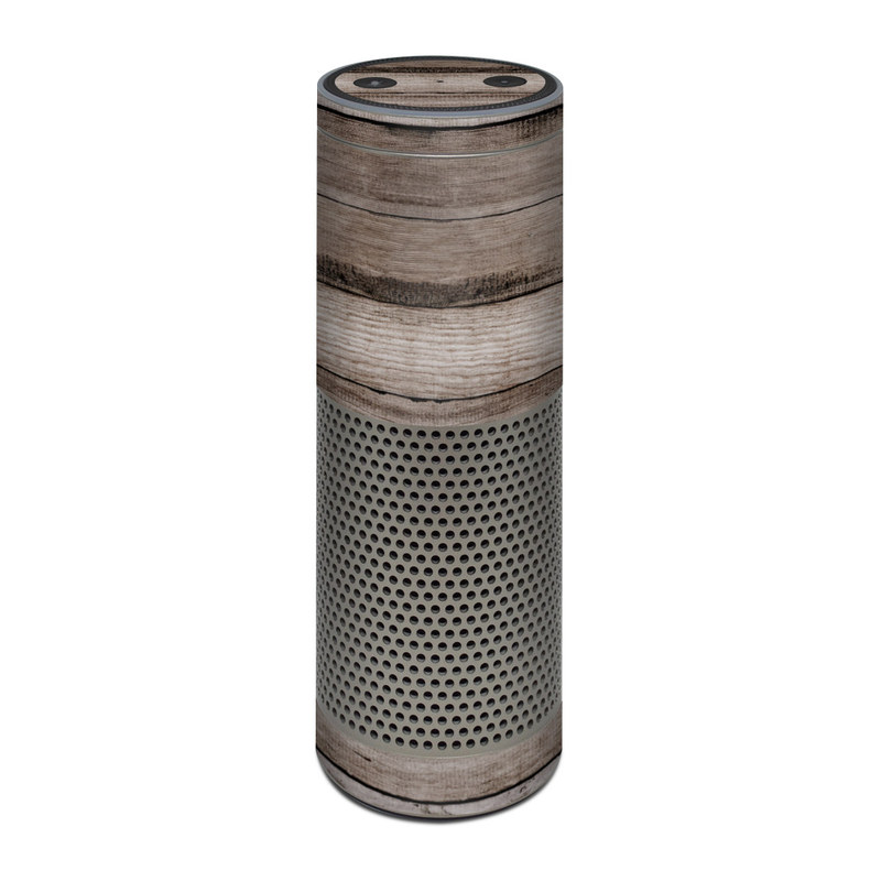 Amazon Echo Plus 1st Gen Skin design of Wood, Plank, Wood stain, Hardwood, Line, Pattern, Floor, Lumber, Wood flooring, Plywood with brown, black colors