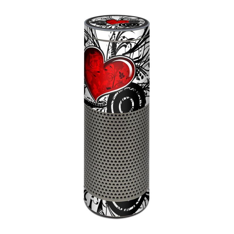 Amazon Echo Plus 1st Gen Skin design of Heart, Line art, Love, Clip art, Plant, Graphic design, Illustration with white, gray, black, red colors