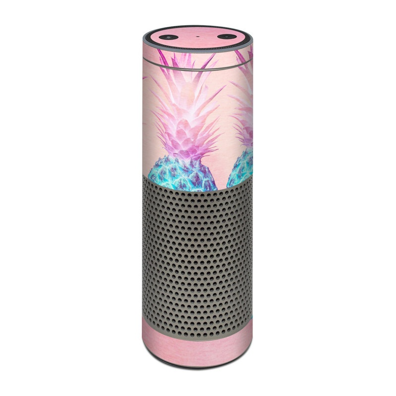 Amazon Echo Plus 1st Gen Skin design of Pineapple, Ananas, Pink, Fruit, Plant, Bromeliaceae, Pattern, Poales with pink, blue, orange colors