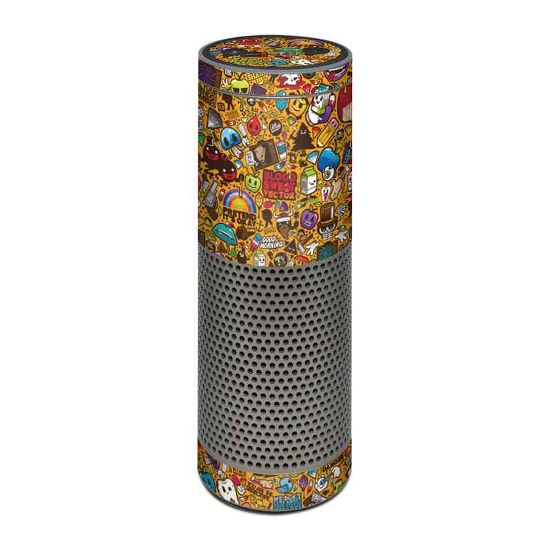 Amazon Echo Plus 1st Gen Skin design of Pattern, Psychedelic art, Visual arts, Art, Design, Illustration, Graphic design, Doodle with black, green, red, gray, orange, blue colors