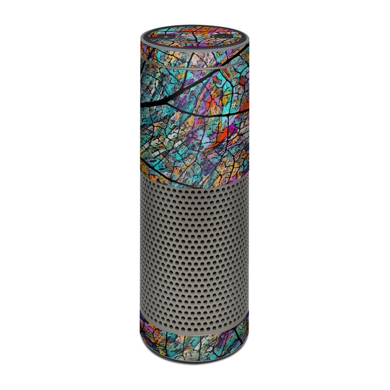Amazon Echo Plus 1st Gen Skin design of Pattern, Colorfulness, Line, Branch, Tree, Leaf, Design, Visual arts, Glass, Plant with black, gray, red, blue, green colors