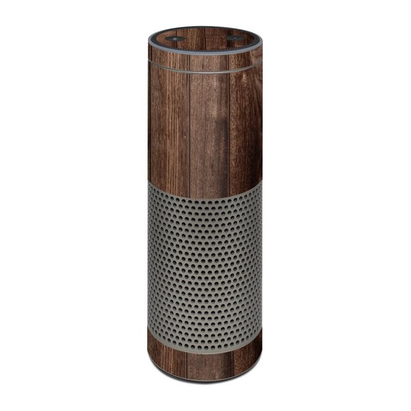 Amazon Echo Plus 1st Gen Skin design of Wood, Wood flooring, Hardwood, Wood stain, Plank, Brown, Floor, Line, Flooring, Pattern with brown colors