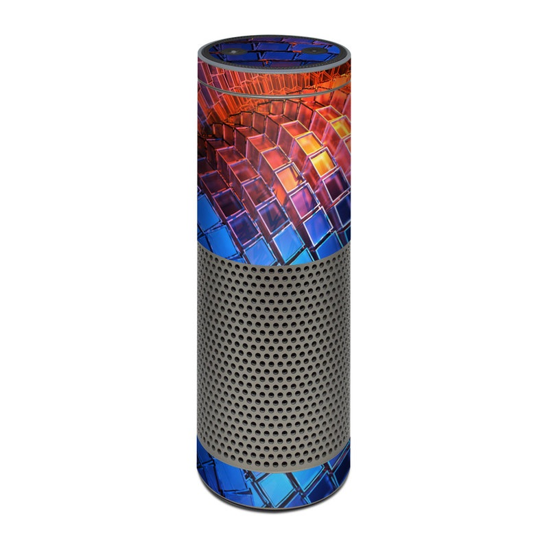 Amazon Echo Plus 1st Gen Skin design of Blue, Red, Orange, Light, Pattern, Architecture, Design, Fractal art, Colorfulness, Psychedelic art with black, red, blue, purple, gray colors