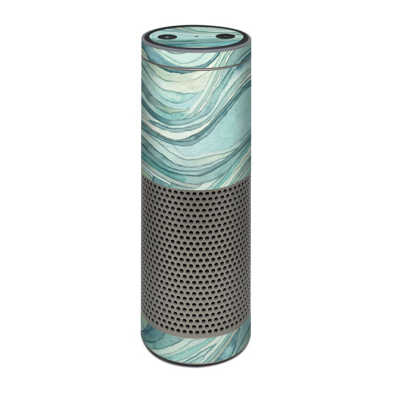 Amazon Echo Plus 1st Gen Skin design of Aqua, Blue, Pattern, Turquoise, Teal, Water, Design, Line, Wave, Textile with gray, blue colors