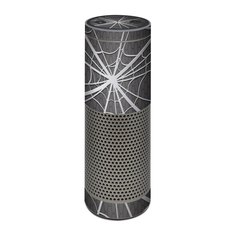 Amazon Echo Plus 1st Gen Skin design of Black, Pattern, Black-and-white, Monochrome, Line, Spider web, Symmetry, Design, Monochrome photography, Stock photography with black, gray colors
