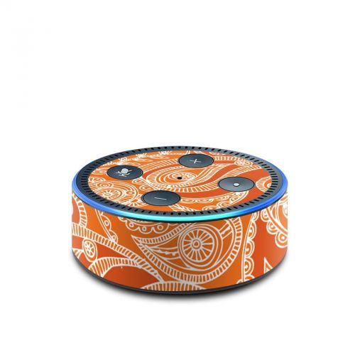 Paisley In Orange Amazon Echo Dot 2nd Gen Skin