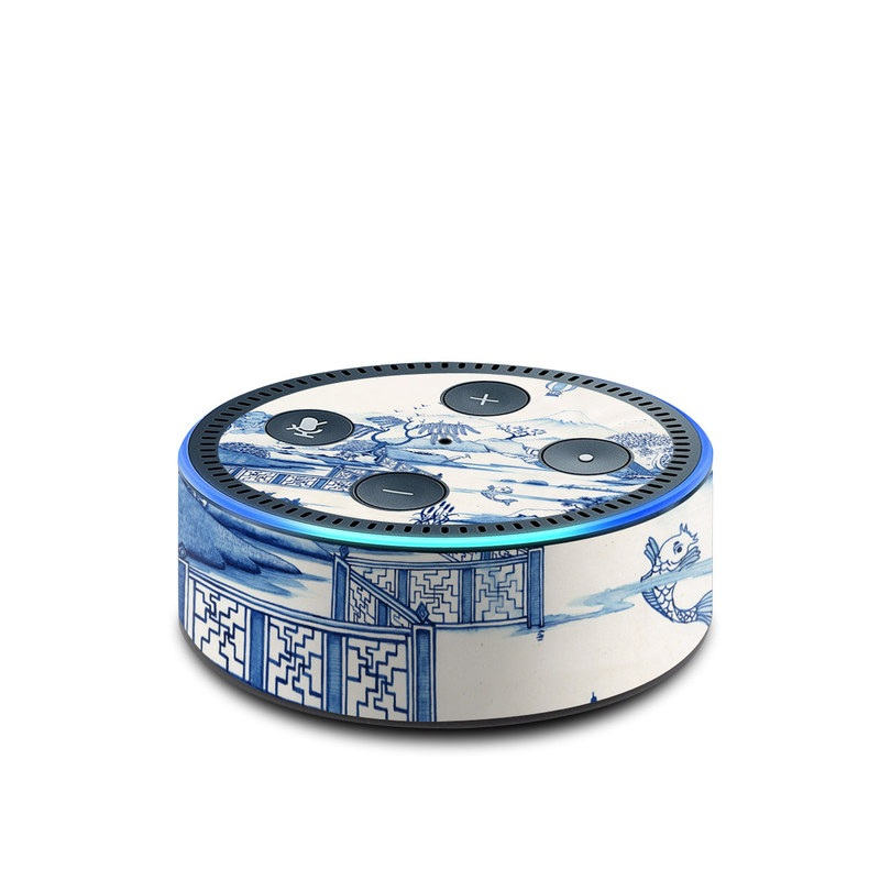 Amazon Echo Dot 2nd Gen Skin design of Blue, Blue and white porcelain, Winter, Christmas eve, Illustration, Snow, World, Art with blue, white colors