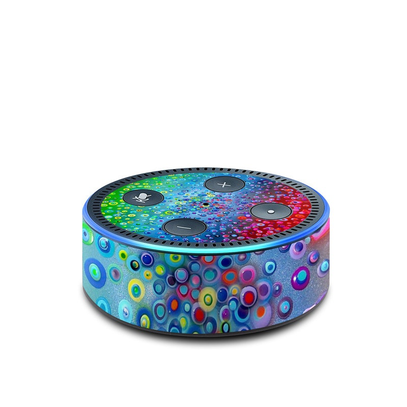 Amazon Echo Dot 2nd Gen Skin design of Water, Blue, Colorfulness, Liquid bubble, Pattern, Drop, Circle with red, blue, green, yellow, purple colors