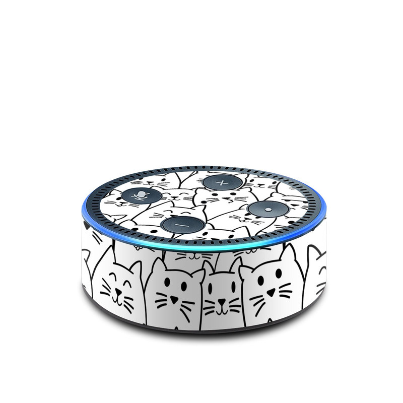 Amazon Echo Dot 2nd Gen Skin design of White, Line art, Text, Black, Pattern, Black-and-white, Line, Design, Font, Organism with white, black colors
