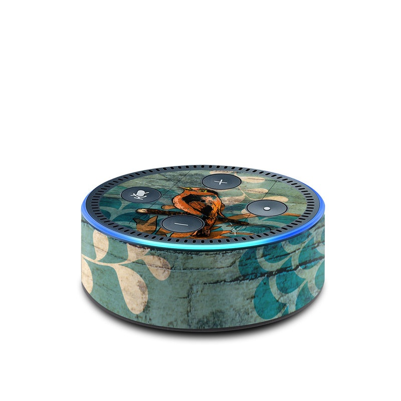 Amazon Echo Dot 2nd Gen Skin design of Bird, Turquoise, Painting, Art, Coraciiformes, Branch, Beak, Wildlife, Perching bird, Illustration with black, blue, gray, green, red colors