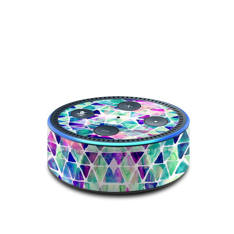 Amazon Echo Dot 2nd Gen Skin design of Pattern, Aqua, Line, Teal, Purple, Turquoise, Design with white, blue, purple, orange, green colors