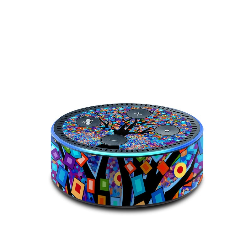 Amazon Echo Dot 2nd Gen Skin design of Psychedelic art, Modern art, Art with black, blue, red, orange, yellow, green, purple colors