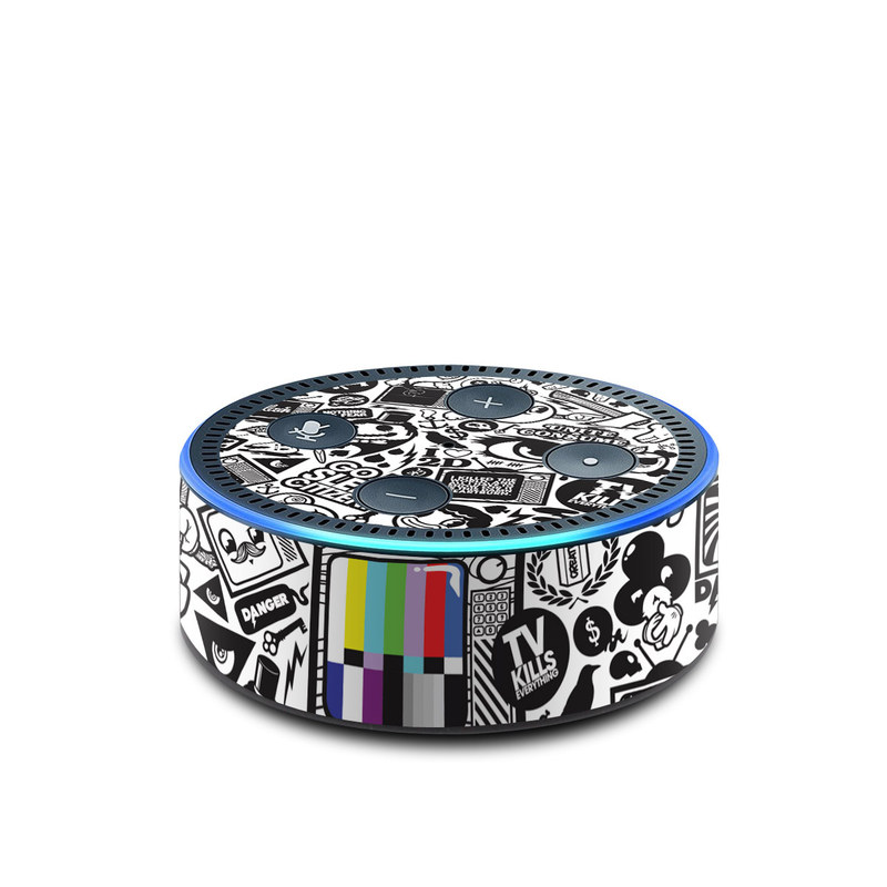 Amazon Echo Dot 2nd Gen Skin design of Pattern, Drawing, Doodle, Design, Visual arts, Font, Black-and-white, Monochrome, Illustration, Art with gray, black, white colors
