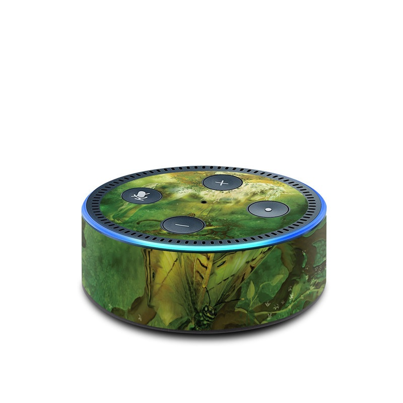 Amazon Echo Dot 2nd Gen Skin design of Nature, Green, Painting, Art, Visual arts, Watercolor paint, Illustration, Modern art, Still life with green, black, gray colors