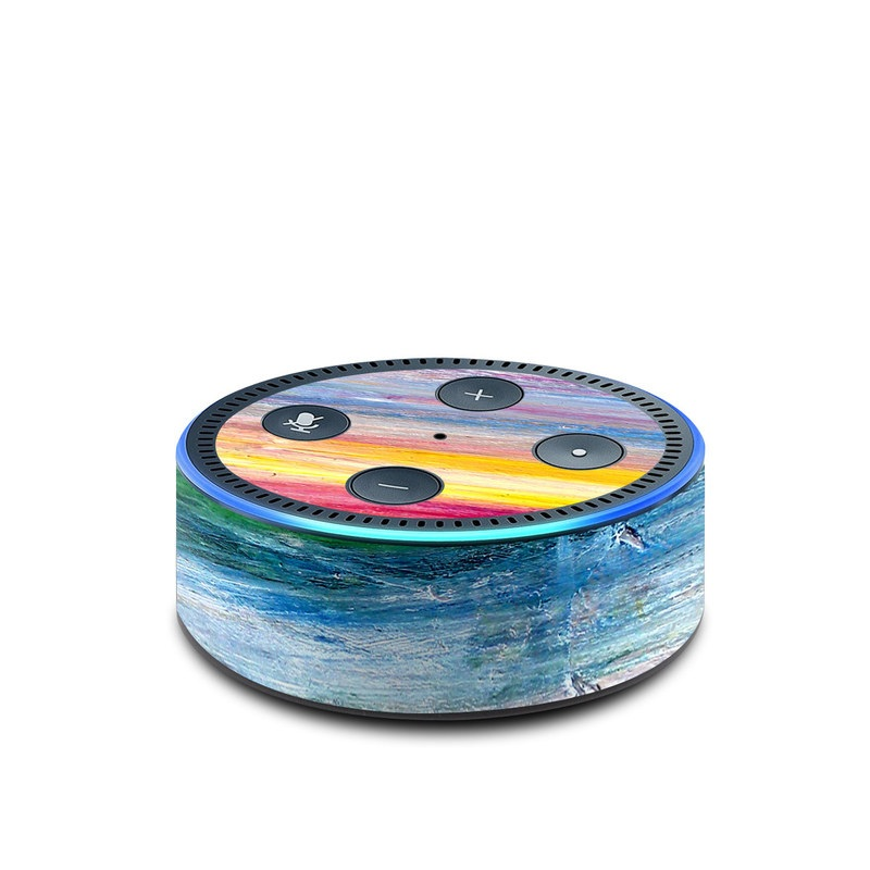 Amazon Echo Dot 2nd Gen Skin design of Sky, Painting, Acrylic paint, Modern art, Watercolor paint, Art, Horizon, Paint, Visual arts, Wave with gray, blue, red, black, pink colors
