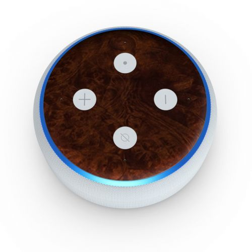 Dark Burlwood Amazon Echo Dot 3rd Gen Skin