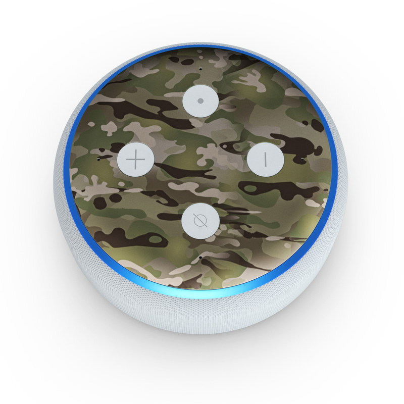 Amazon Echo Dot 3rd Gen Skin design of Military camouflage, Camouflage, Pattern, Clothing, Uniform, Design, Military uniform, Bed sheet with gray, green, black, red colors