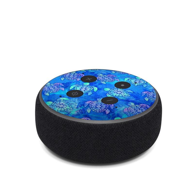 Amazon Echo Dot 3rd Gen Skin design of Blue, Pattern, Organism, Design, Sea turtle, Plant, Electric blue, Hydrangea, Flower, Symmetry with blue, green, purple colors