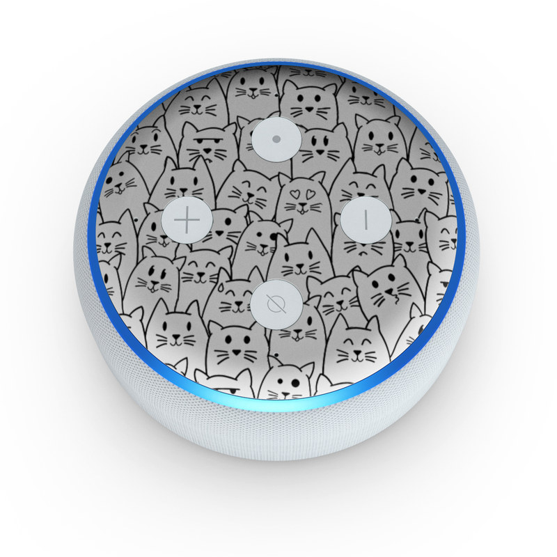Amazon Echo Dot 3rd Gen Skin design of White, Line art, Text, Black, Pattern, Black-and-white, Line, Design, Font, Organism with white, black colors