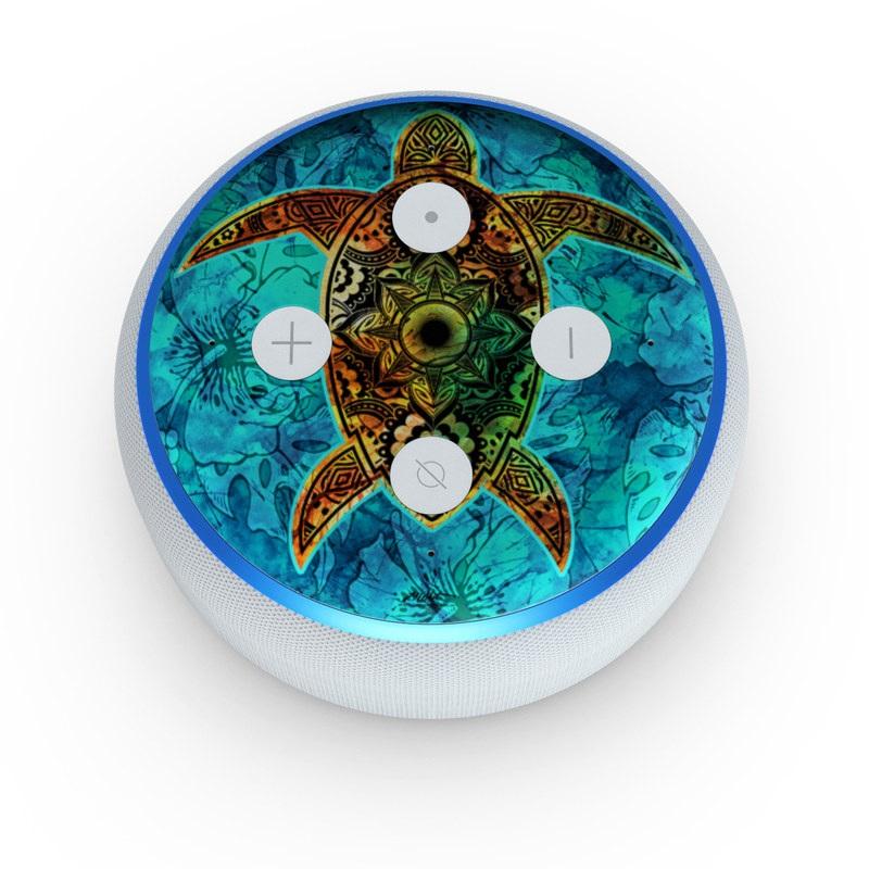 Amazon Echo Dot 3rd Gen Skin design of Sea turtle, Green sea turtle, Turtle, Hawksbill sea turtle, Tortoise, Reptile, Loggerhead sea turtle, Illustration, Art, Pattern with blue, black, green, gray, red colors