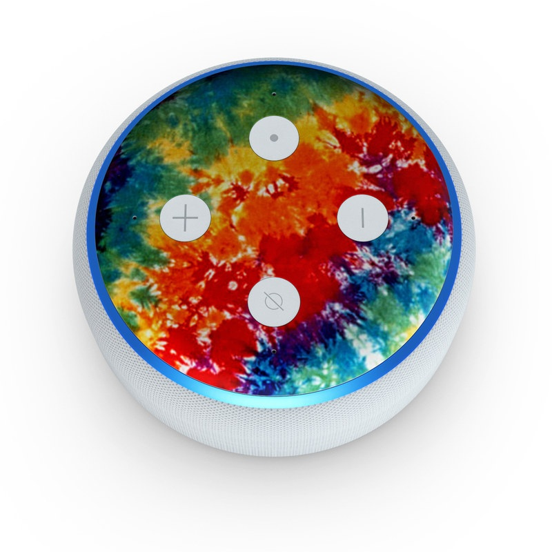 Amazon Echo Dot 3rd Gen Skin design of Orange, Watercolor paint, Sky, Dye, Acrylic paint, Colorfulness, Geological phenomenon, Art, Painting, Organism with red, orange, blue, green, yellow, purple colors