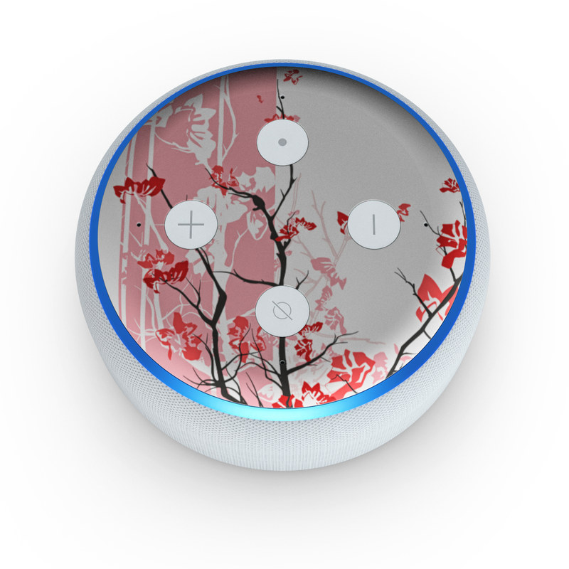 Amazon Echo Dot 3rd Gen Skin design of Branch, Red, Flower, Plant, Tree, Twig, Blossom, Botany, Pink, Spring with white, pink, gray, red, black colors