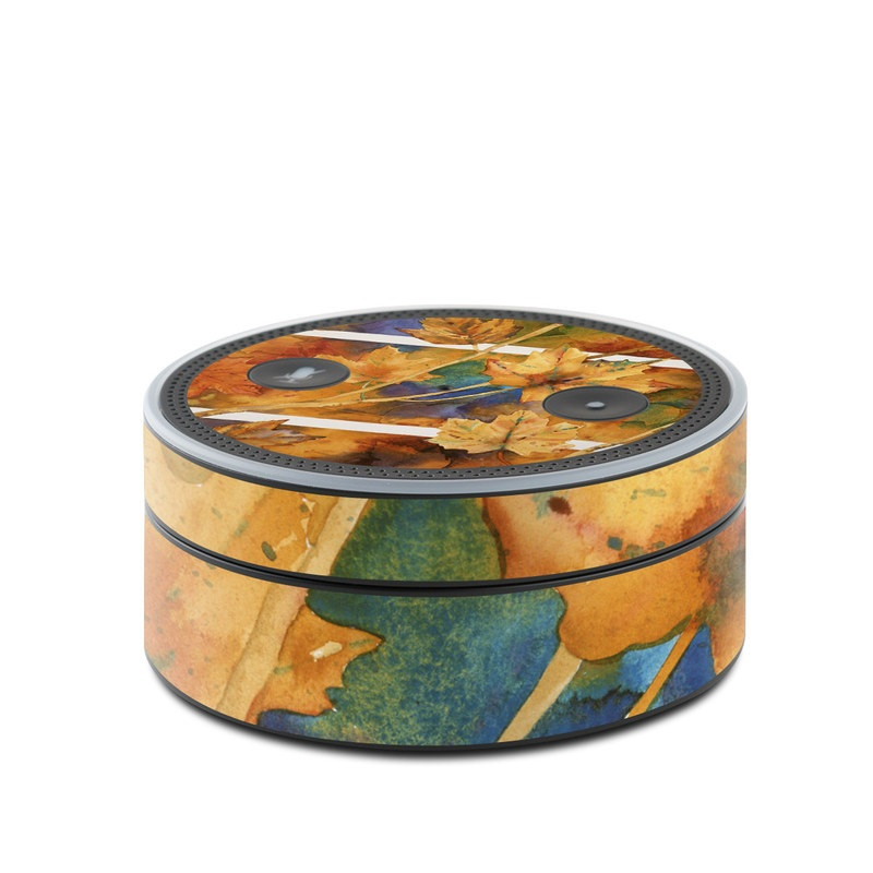 Amazon Echo Dot 1st Gen Skin design of Leaf, Autumn, Plant, Tree, Flower, Black maple, Plane, Painting, Still life, Deciduous with yellow, green, red, orange, white, blue colors