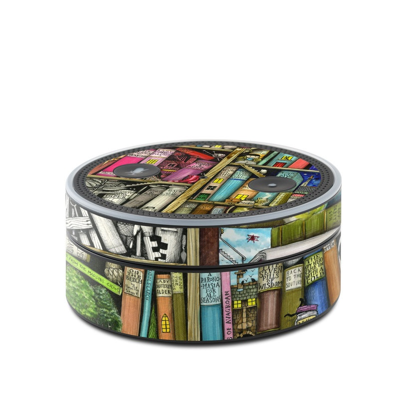 Amazon Echo Dot 1st Gen Skin design of Collection, Art, Visual arts, Bookselling, Shelving, Painting, Building, Shelf, Publication, Modern art with brown, green, blue, red, pink colors