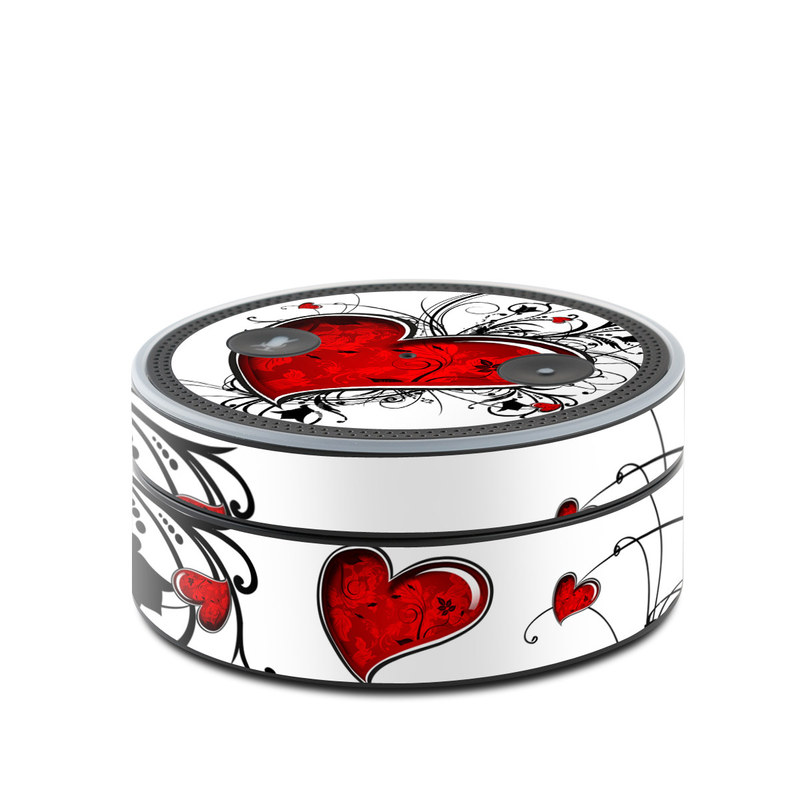 Amazon Echo Dot 1st Gen Skin design of Heart, Line art, Love, Clip art, Plant, Graphic design, Illustration with white, gray, black, red colors